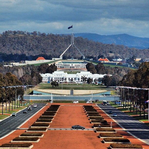 Canberra - the Avenue of Honour, Old Parliament House, and New Parliament House. The Nation's Capital (not Sydney!).