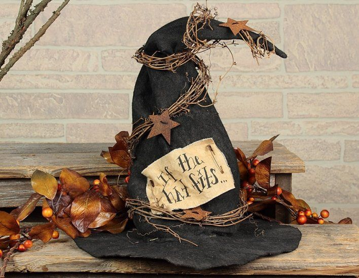 primitive witch hat decoration - Witch Halloween Decorations