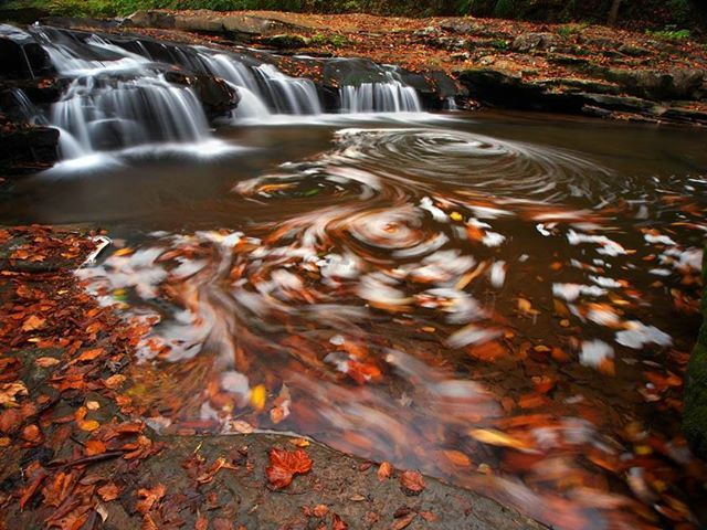 When it comes to photographing creeks, in my opinion, Mill Creek offers some of the best opportunities in the New River Gorge for beautiful scenes. With numerous perspectives of little cascades, creekscapes and a major waterfall, before you know it several hours can slip by without one even realizing it. This little scene was one of my favorites from my shoot here as leaves and foam swirl to create a canvas of Fall beauty.  Copyright 2013 William H Fultz II