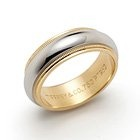 Tiffany & Co. Milgrain wedding band ring in platinum and 18k gold, 6mm wide.