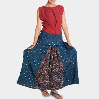 Red Top and Indigo Skirt Trousers Set