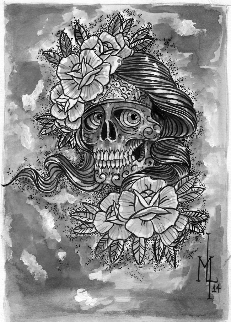 #aquarela. #ecoline #cranio, #rosa