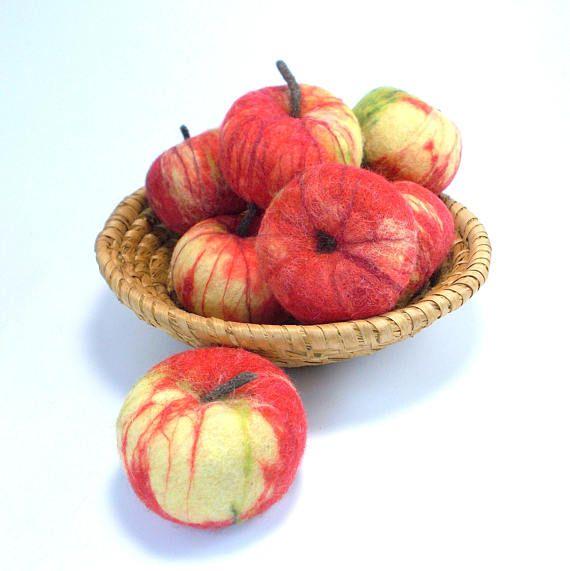 Real Size Felted Apple Home Decor Kitchen Decor Felt Wool
