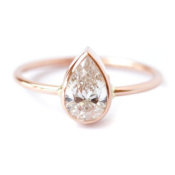 Diamond Ring Solitaire Pear Diamond Engagement Ring by artemer
