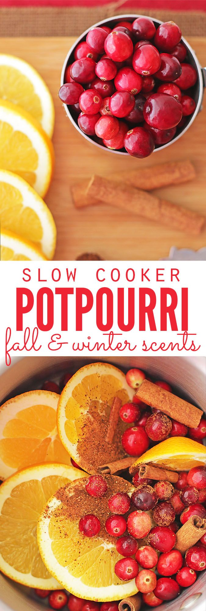 I love this easy recipe for slow cooker potpourri - it smells just like Christmas! I can leave it out all day long and don't have to worry about burning down the house, OR it can be adapted for stove top potpourri too. Plus there's ideas to turning homemade potpourri into an easy homemade Christmas gift! :: DontWastetheCrumbs.com