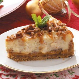"""Caramel Apple Cheesecake (Taste of Home). """"This recipe won the Grand Prize in an apple recipe contest. With caramel both on the bottom and over the top, this cheesecake is ooey-gooey good."""""""