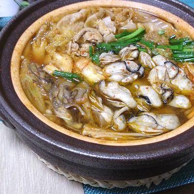 しょうがでポッカポカ☆牡蠣入りキムチ鍋