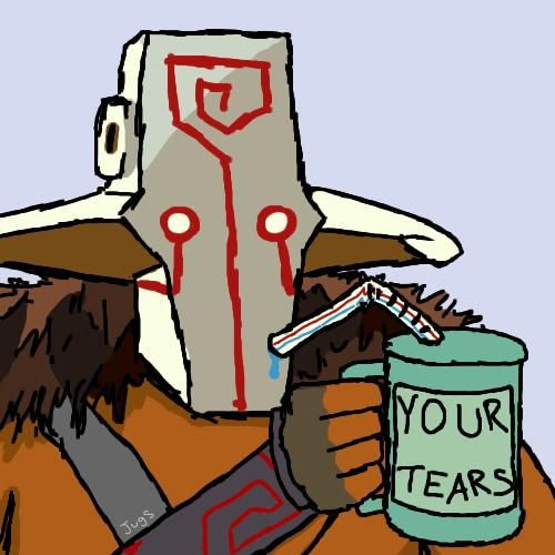 Dota 2 Blademaster drinking your tears one cup at a time.