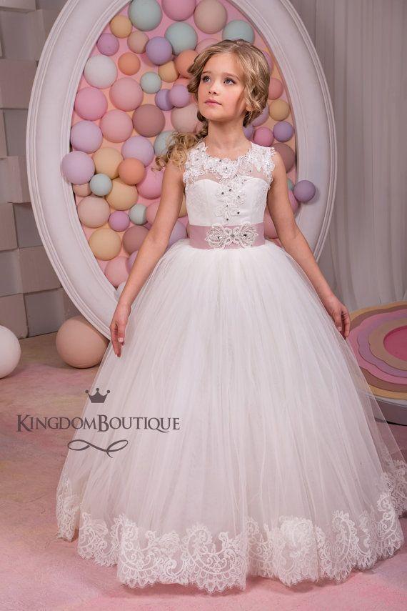Vestido de niña flor marfil Dama de honor por KingdomBoutiqueUA