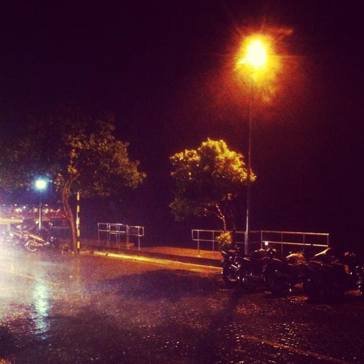Midnight rain.   Male' City, Maldives .