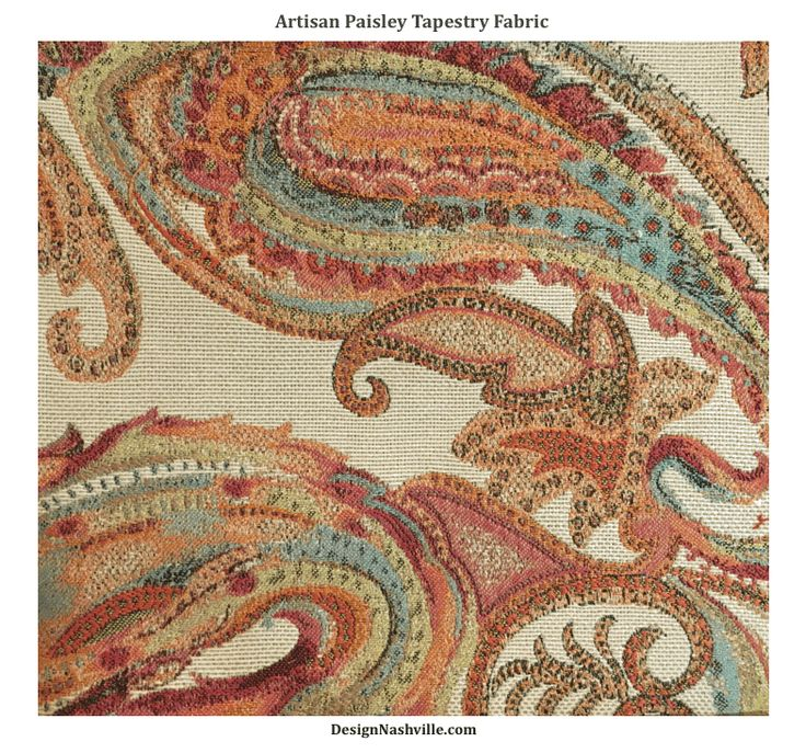 Artisan Paisley Tapestry Fabric,  orange fuchsia cut yardage is priced online. message us for quotes on window treatments and upholstered furniture
