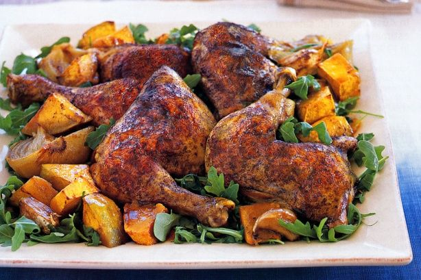 Slow-roasted free-range chicken with Asian flavours and warm roasted pumpkin salad