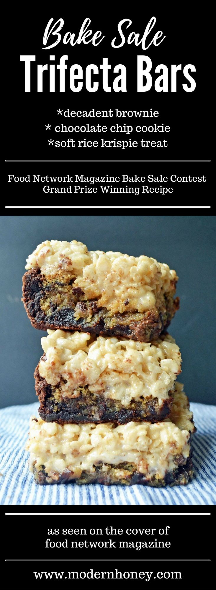 Bake Sale Trifecta Bars made with decadent brownie, ultimate chocolate chip cookie, and a soft marshmallow rice krispie treat. It's the crowd pleasing dessert bar that won the grand prize in the Food Network Magazine Bake Sale Contest.