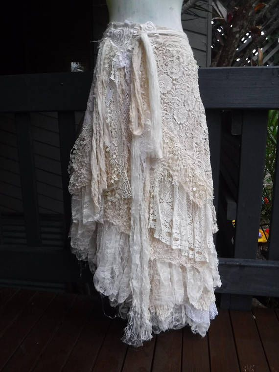 wedding skirt,tattered skirt, stevie nicks, bohemian skirt, boho skirt, gypsy sk…