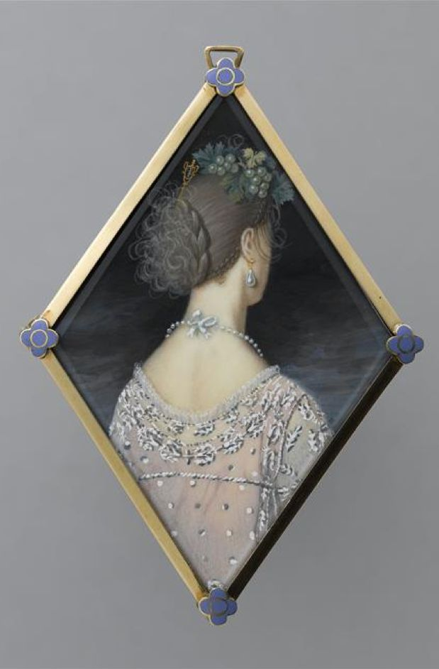 Princess of The Two Sicilies, reverse of miniature portrait on ivory, early 19th C. / Chantilly, musée Condé: