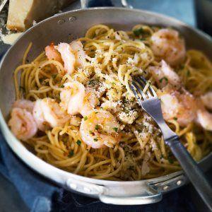 Valkosipuli-katkarapupasta - Kotiliesi.fi - Garlic and shrimp pasta