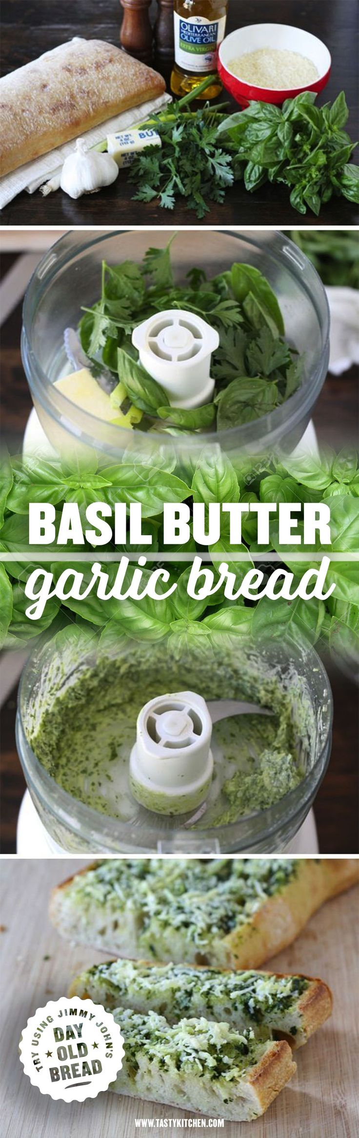 Basil Butter Garlic Bread! Try making with Jimmy John's Day Old French Bread. Sold at all JJ's first come first serve for around 50 cents. Great simple appetizer!