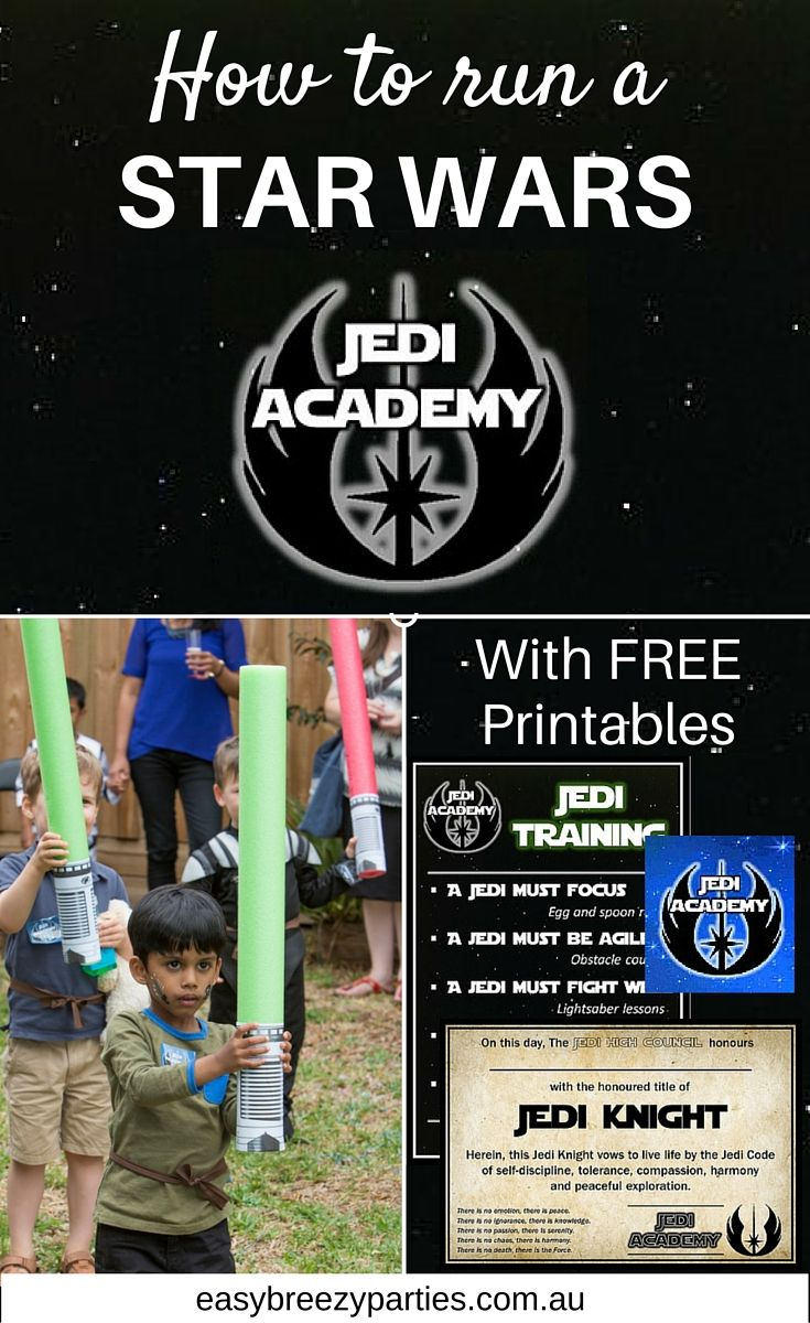 How to run a Star Wars kids party Jedi Academy. Fund games plus free printable academy badge and Jedi Knight graduation certificate. http://www.easybreezyparties.com.au/party-inspiration-and-ideas/item/133-star-wars-jedi-academy.html #starwars #easybreezyparties