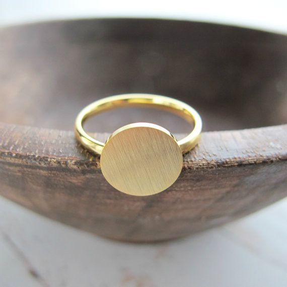 JZ082 Fashion Simple Gold Plated Round Rings Brushed Circle Women Rings Bague Homme Birthday Gifts