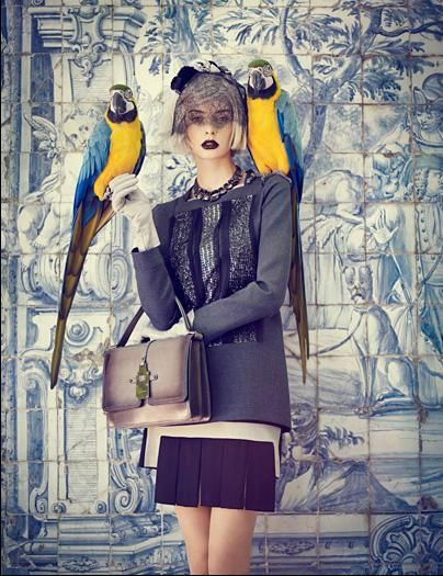 Auguste Abeliunaite by Luis Monteiro for Vogue Portugal September 2011: Luis Monteiro, Inspiration, Exotic Birds, Vogue Portugal, Parrots, Colors, Dark Lips, Fashion Editorial, Strike A Poses