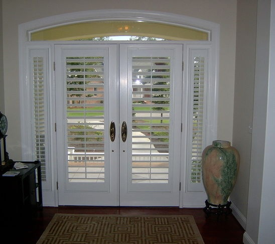 Foyer Window Shutters : Plantation shutter door for entry but only one side