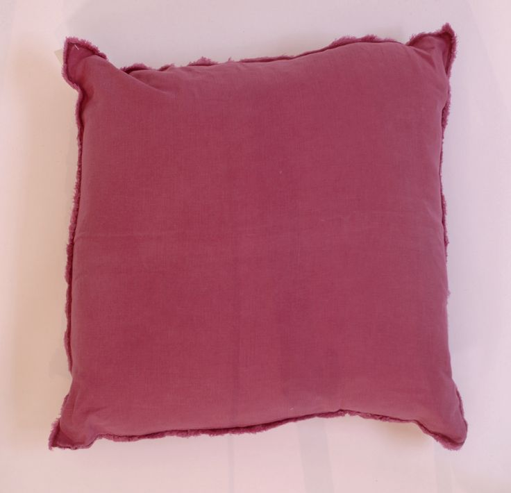 "Fuchsia Fringed Linen Square Pillow Down Insert 20"" - Harrington Galleries"