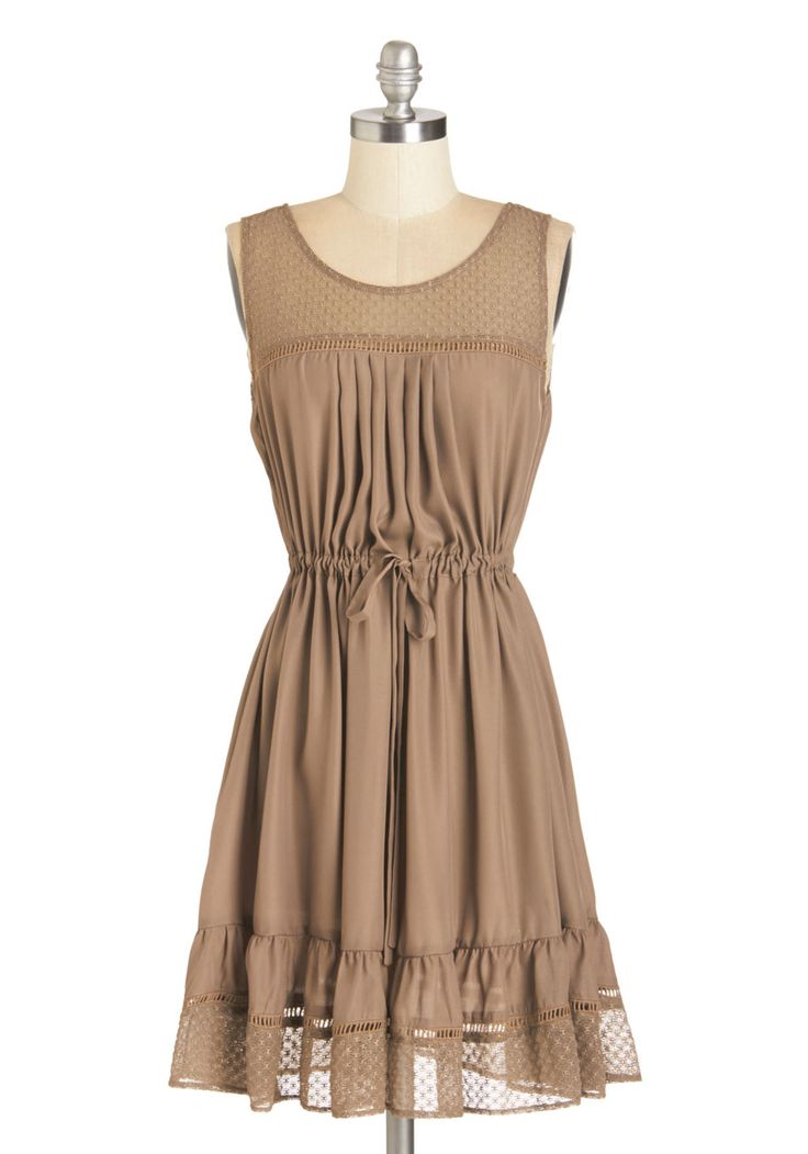 Clover and Over Dress in Tan. While you own a bevy of other beautiful dresses, you find yourself reaching for this tan dress over and over again! #tan #modcloth
