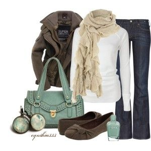 Fall clothing idea! Love the scarf on white.