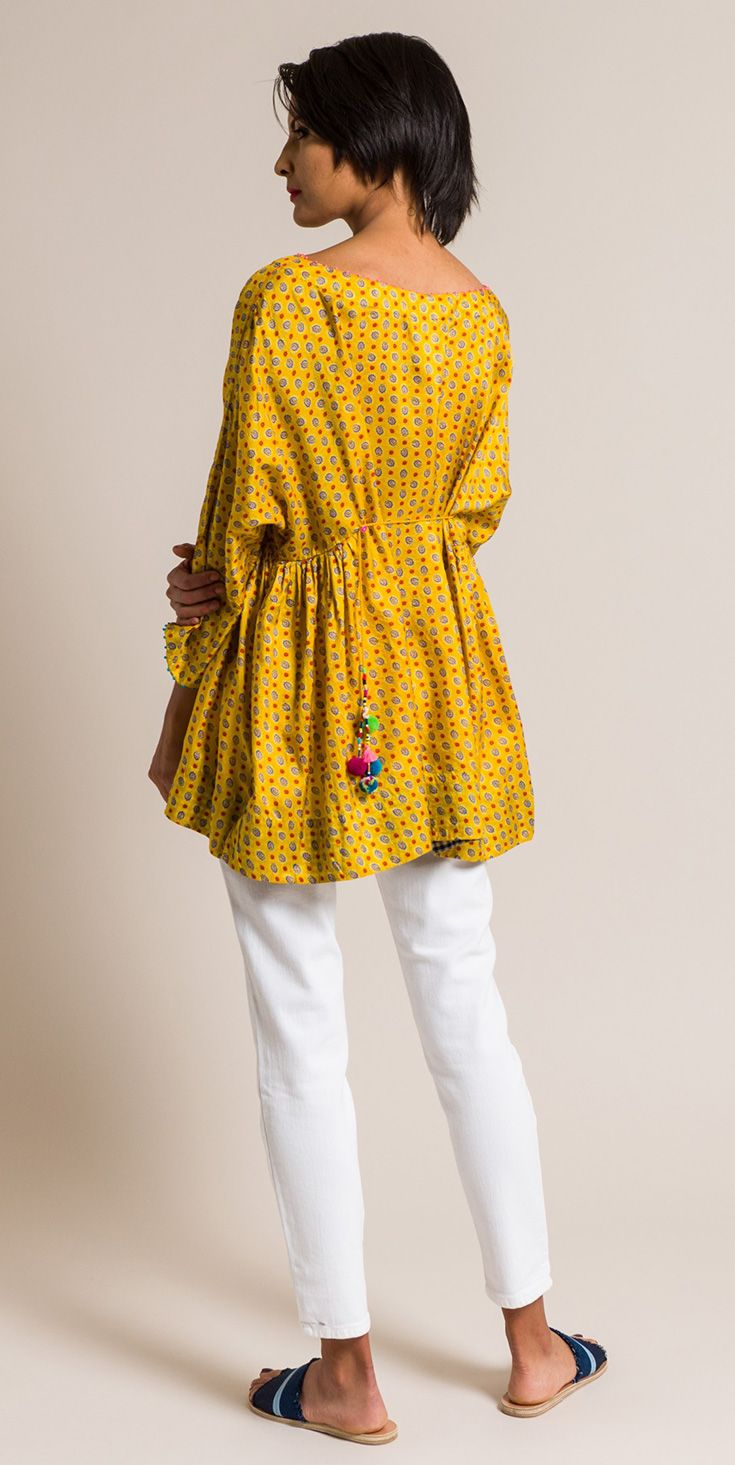 $675.00 | Péro by Aneeth Arora Silk Floral Scoop Neck Top in Yellow | Handmade in India