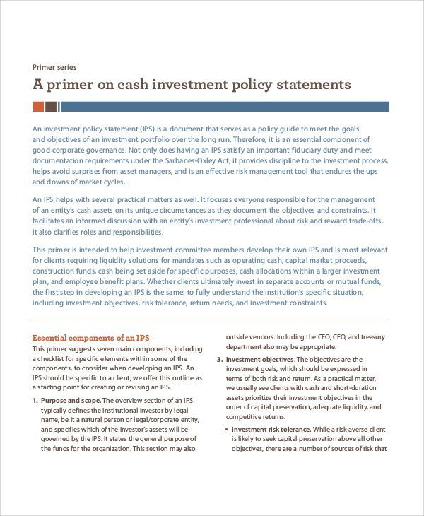Investment Policy Statement Template  HttpWwwValery