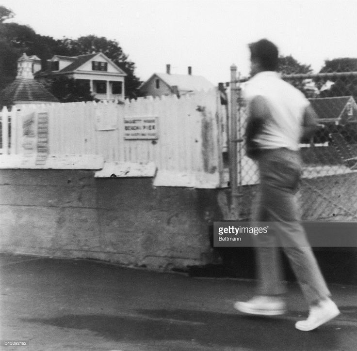 Senator Edward Kennedy hurries as he leaves the Chappaquiddick Ferry as he leaves the Edgartown Center, July 19th. The Massachusetts Registry of Motor Vehicles issued a preliminary report July 23rd stating that Senator Kennedy was at 'serious fault' for the accident that killed a woman passanger, Mary Jo Kopechne, in the car he was driving on July 18, 1969.