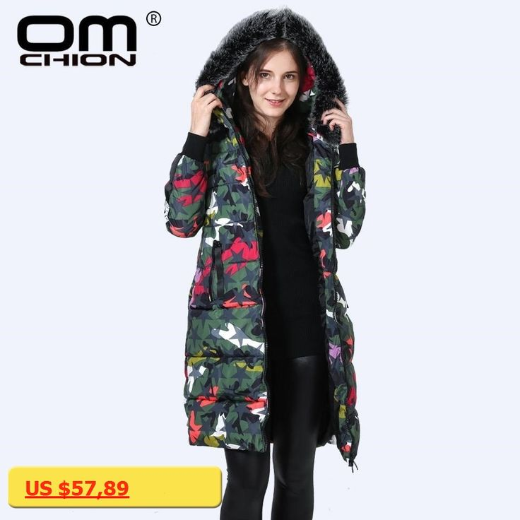 OMCHION Cazadoras Mujer Invierno 2017 Winter Coat Women Female Camouflage Parka Slim Snow Long Down Cotton Padded Jacket LR11