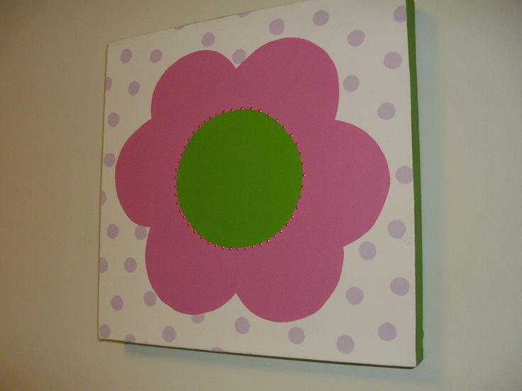 A Mary Quant flower in bold colours, canvas 12x12
