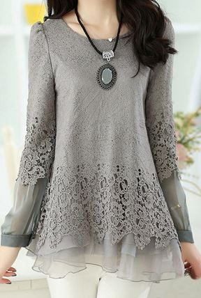 So Pretty! LOVE Lace! Love the Layered Design! Grey Lace Layered T Shirt
