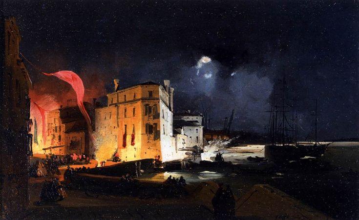 Feste notturne in Via Eugenia a Venezia (2) Ippolito Caffi - (Portfolio ) Olio su tela, 27 x 44 cm, (1840)
