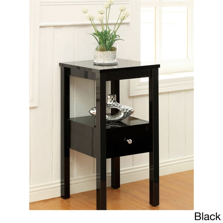 Complement your existing decor with this space saver side table. It offers reliable single drawer storage accented with silver finish pull, and a center open shelf attraction and polished with three color options to fit your color scheme.
