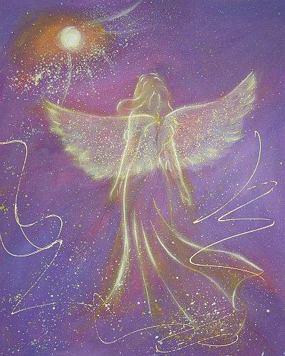 "Henriette Küentzle - HendriettesArt. Limited angel art photo ""touching soul"" , modern angel painting, artwork, perfect also for picture frame,spiritual gift,"