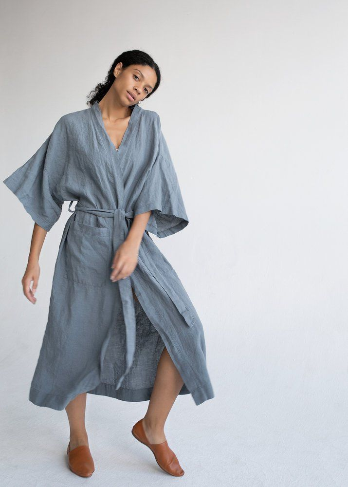 Blue Linen Kimono Jacket Linen Jacket In French Blue Soft Washed Linen Coat With Pockets Long Linen Jacket