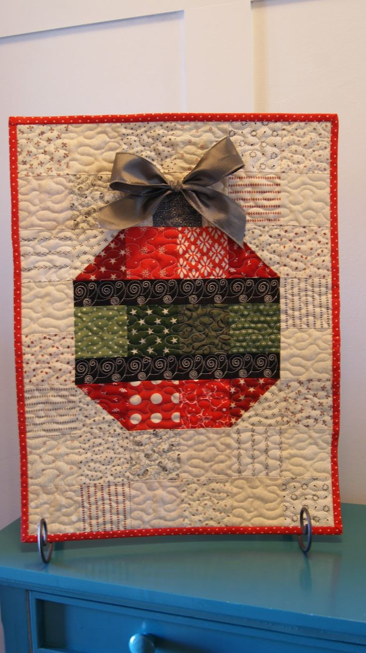 Ornament mini quilt by Chocolate Dipped Quilts