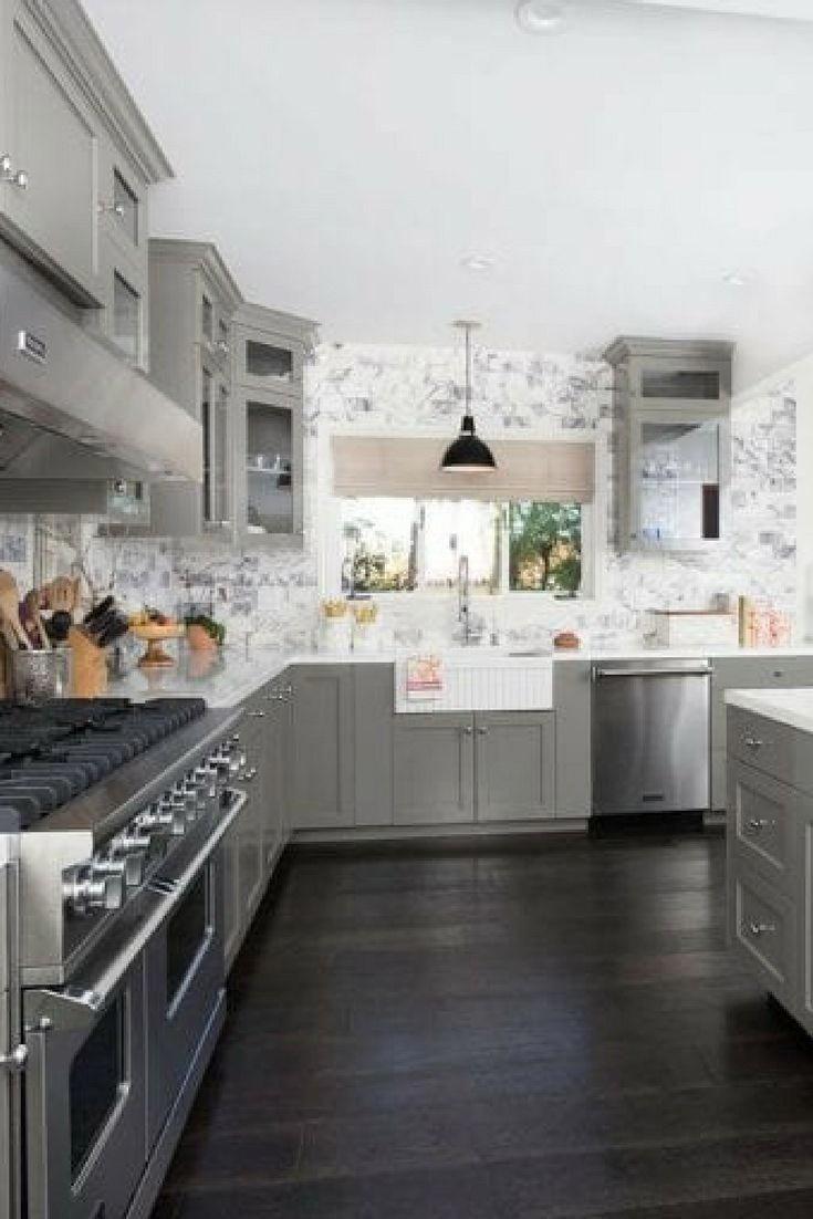 Kitchen With Gray Cabinets White Farmhouse Sink And Very Dark Wood Flooring Woodfloor Hardwood Floors In Kitchen Grey Wood Floors Kitchen Grey Kitchen Floor