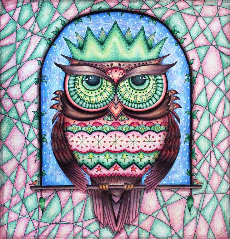 Christmas owl in his Christmas jumper.   #johannabasford #johannaschristmas #staedtler #ergosoft #mystaedtler #coloring #coloringforadults #adultcoloring #coloringbook