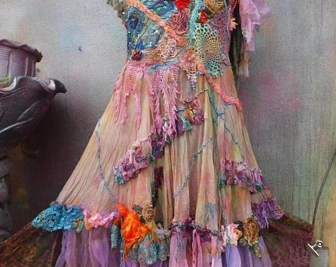 20% de descuento wildskin, vestido de novia bohemio, vestido de Dama de honor, vestido de bosque, fantasía vestido, boda gitana, hippy boda, mori girl, novia,
