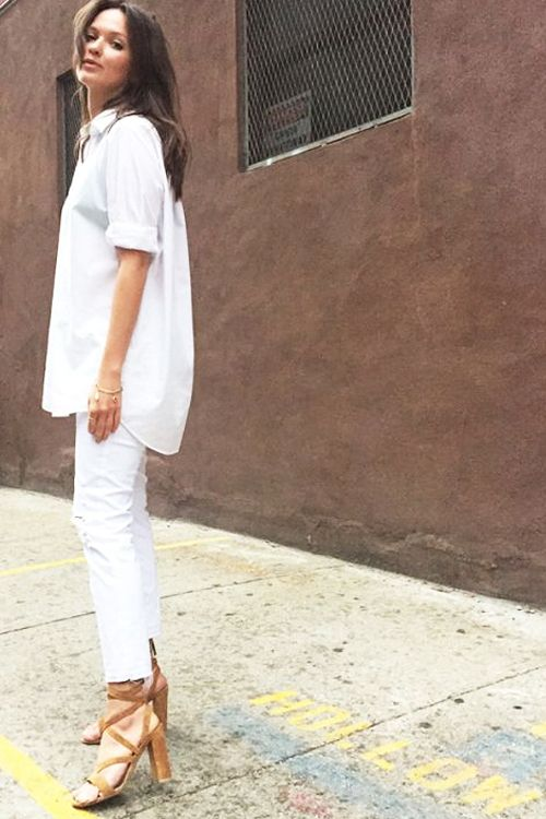 What to Wear to Work, All-White Spring Edition: White Button-Front Shirt,  Cropped White Ankle Pants, Neutral Lace-Up, Block Heel Sandals