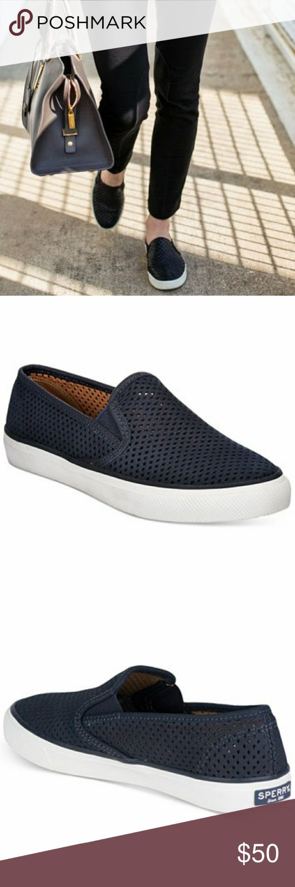 Navy Sperry Women's Seaside Perforated Slip-OnS Selling a pair of new with tags Sperry shoes. This slip ons are so cute and perfect for any season. They have a memory foam like insole, dpi they are extremely comfortable. Selling because I bought them online and don't have a door near me, but they are a little small. They were originally $75, but are now on sale for $55 so I will take the loss on that one and list then good cheaper. Sperry Top-Sider Shoes Sneakers