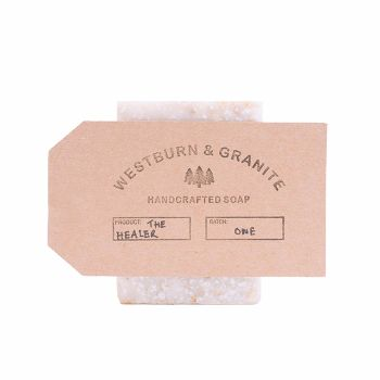 Westburn&Granite The Healer Soap Bar: The Healer contains real organic honey and oats, which combine to create a pure, natural 'healing' soap bar.  When mixed with water, the oats will create a milky wash to sooth the skin. In addition, the bar's high sugar content and acidic properties impair bacteria's ability to replicate, making it great for skin conditions such as acne.  Essential Ingredients: Apis mellifera (organic honey) Avena sativa (organic oat) Citrus sinensis (orange essential…
