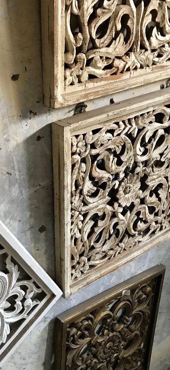 Decorative Solid Mango Wood Indian Distressed Window Panel Wall
