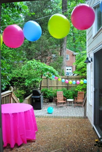 Stringing balloons - great idea!: Balloon Decor, Hanging Balloon, Paper Pom Pom, Birthday Parties, Decoration, Parties Ideas, Balloons, Balloon Garlands, Parties Decor