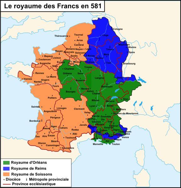 Carte du royaume des Francs en 581