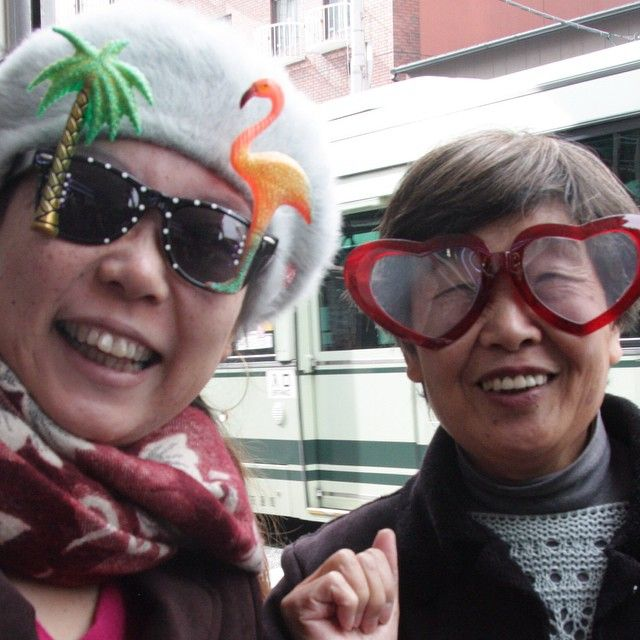 The coolest grandmothers! Some of the first customers to enter the Kyoto Flying Tiger shop. #flyingtiger #tigerstores #grandmother #coolgrandmother #party #partyglasses #kyoto #japan #glasses #dontgrowupitsatrap