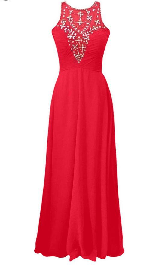 Luxury Long A-line Red Chiffon Evening Dresses Beads Top Pleats Strapless Prom Party Gown